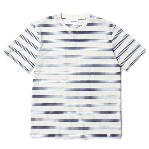 Norse Projects - Johannes Cotton Linen Stripe T-shirt - Twilight Blue