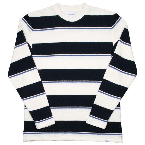 Norse Projects - Johannes Textured Stripe LS T-shirt - Dark Navy