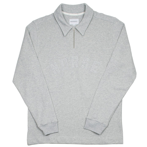 Norse Projects - Jorn Half Zip Polo - Light Grey Melange