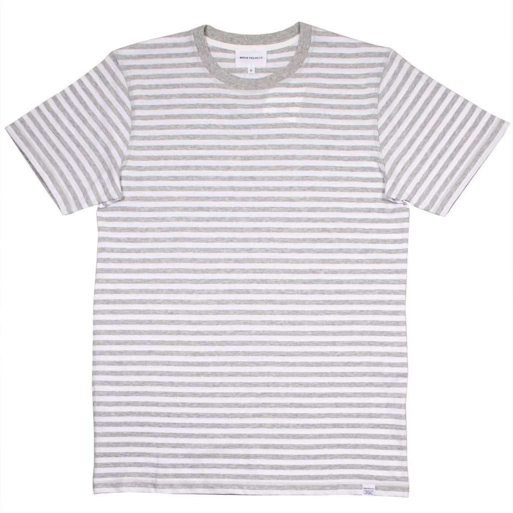Norse Projects - Niels Classic Stripe T-shirt - Light Grey Melange