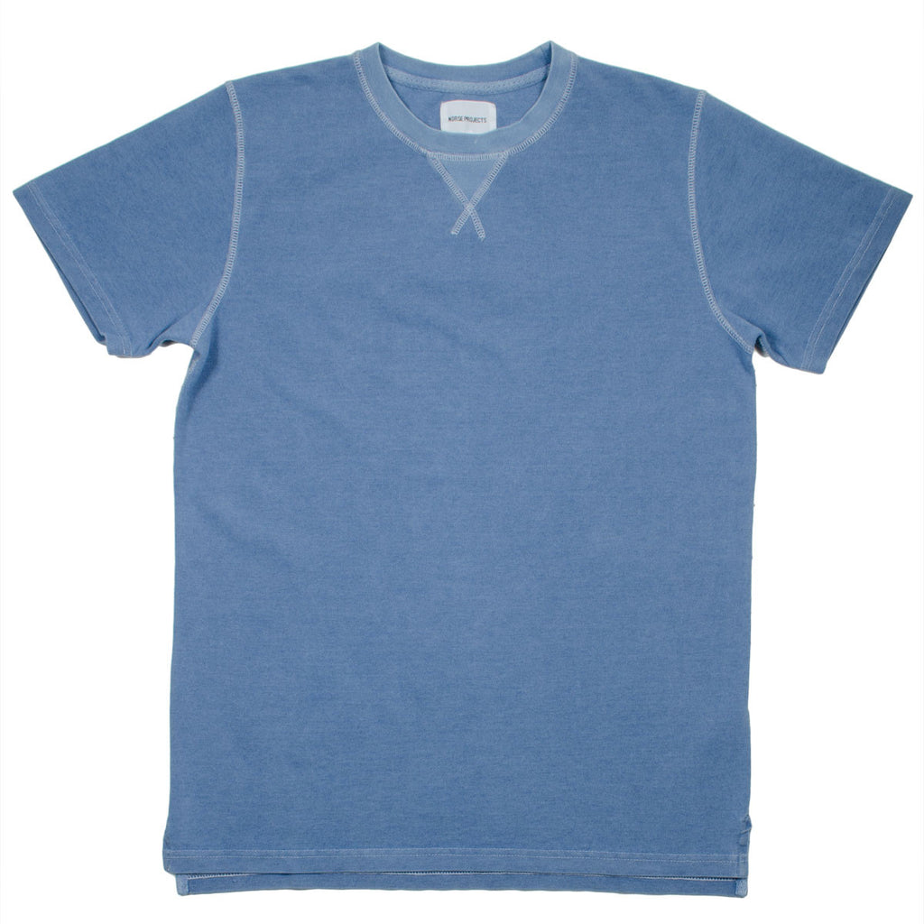Norse Projects - Niels Indigo Piqué T-shirt - Light Indigo