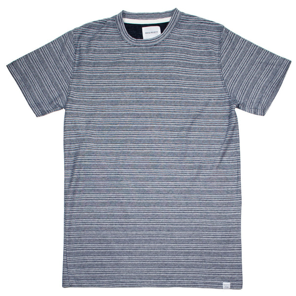 Norse Projects - Niels Multi Textured Stripe T-shirt - Navy / White