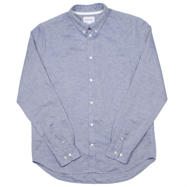 Norse Projects - Osvald BD Cotton Linen Shirt - True Blue