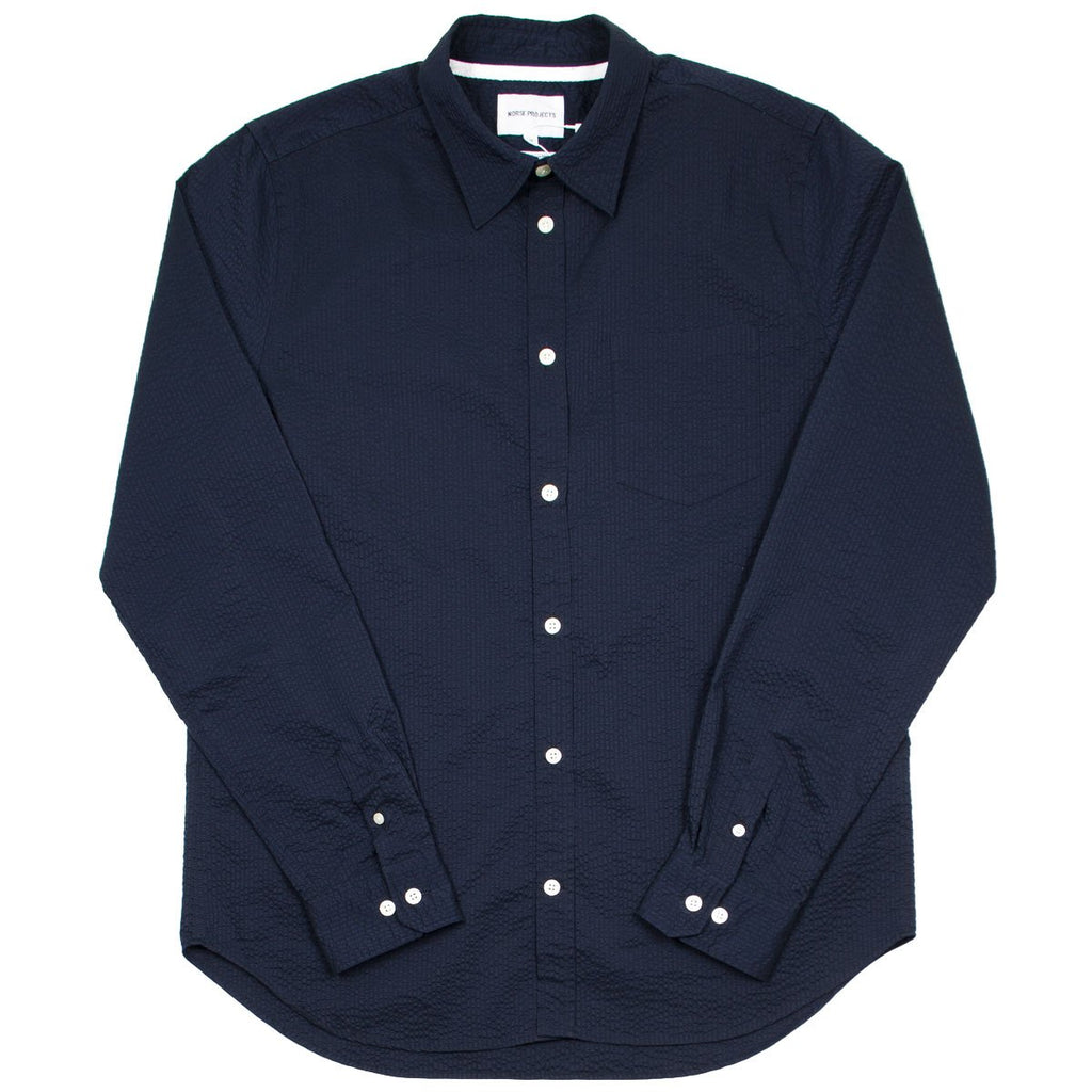 Norse Projects - Osvald Seersucker Shirt - Dark Navy