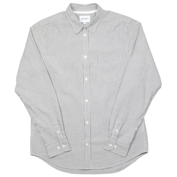 Norse Projects - Osvald Seersucker Shirt - Navy Stripe