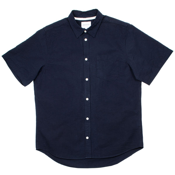 Norse Projects - Osvald Seersucker SS Shirt - Dark Navy