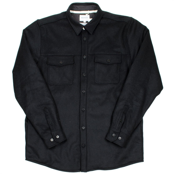 Norse Projects - Villads Melton Overshirt - Black