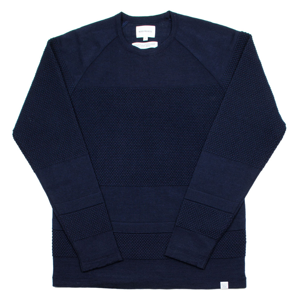 Norse Projects - Ville Light Wool Bubble Sweater - Navy Melange