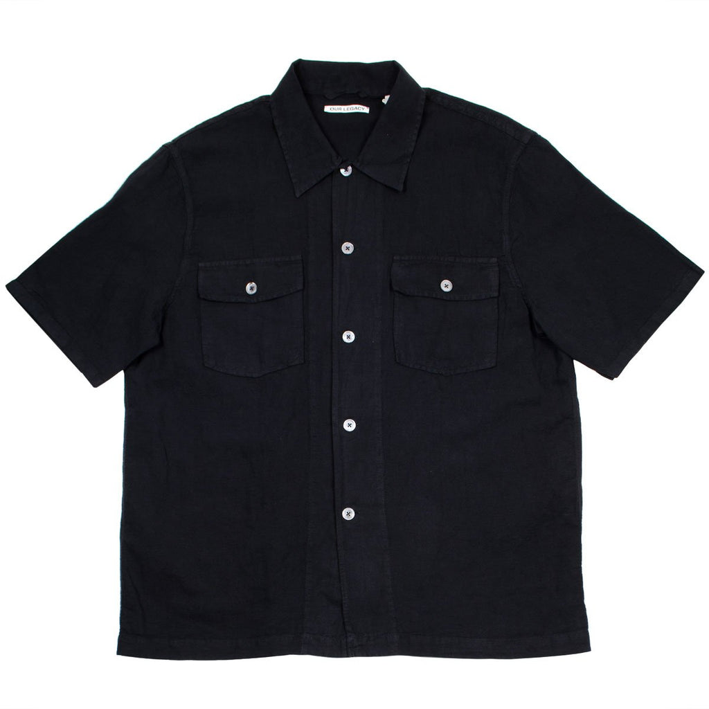 Our Legacy - Chamois Short Sleeve Shirt - Black Cotton Linen