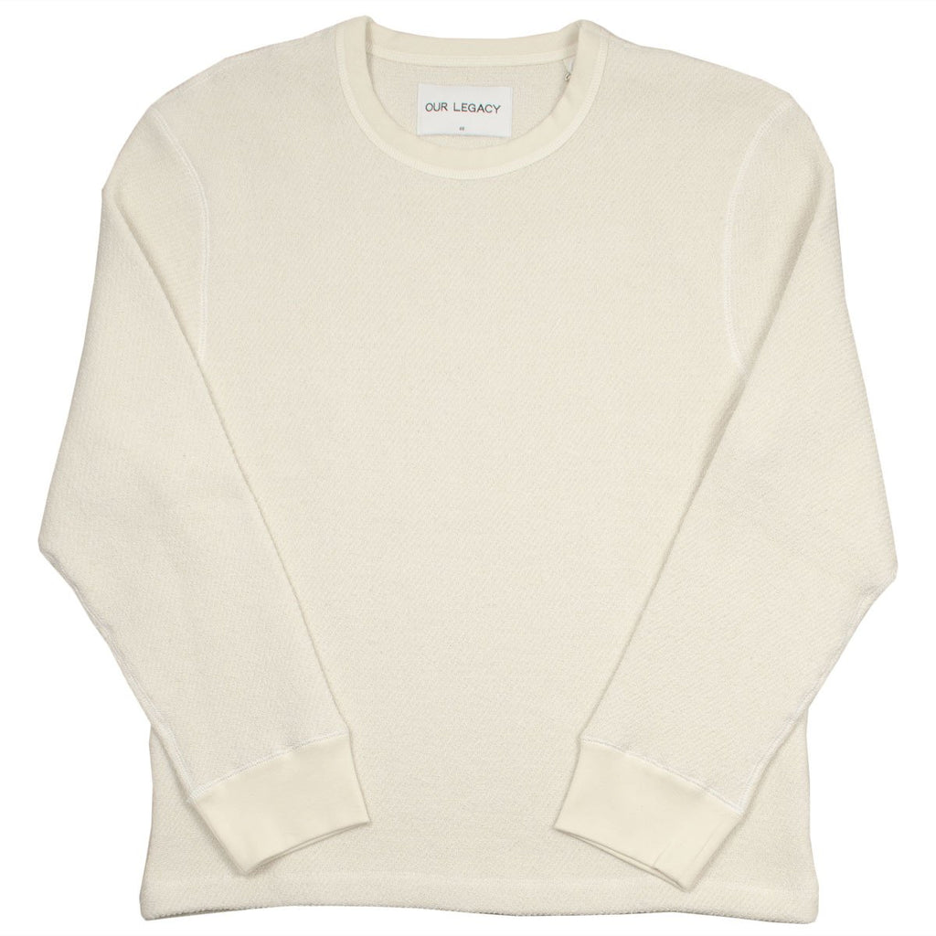 Our Legacy SPLASH - Open Longsleeve Sweatshirt - White Chunky Waffle