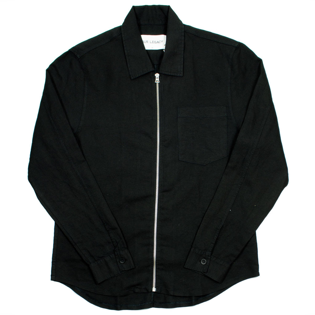 Our Legacy - Zip Shirt - Washed Black Linen