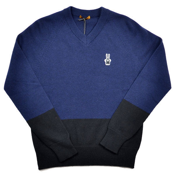 Peter Jensen – Unisex V Neck Jumper – Navy / Black