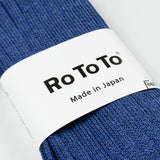 RoToTo - Linen Cotton Rib Socks - Medium Blue