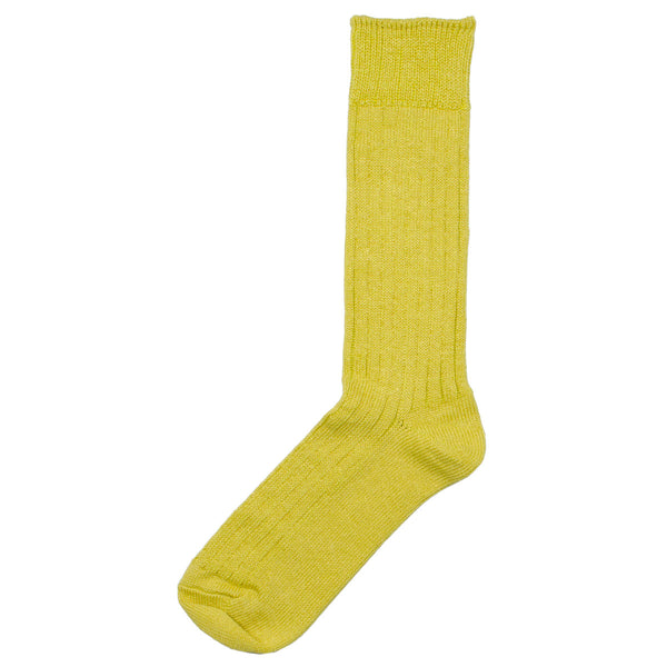 RoToTo - Linen Cotton Rib Socks - Yellow