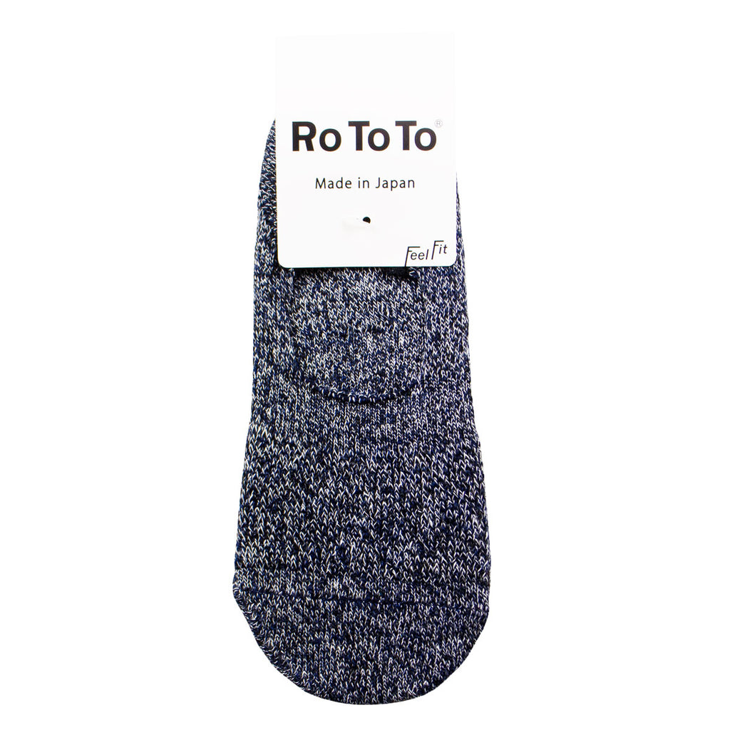 RoToTo - Low Gauge Linen Foot Cover Invisible Socks - Navy / White
