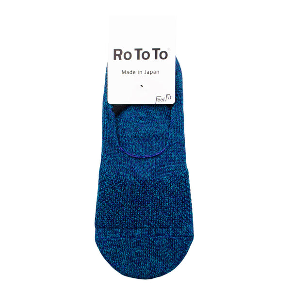 RoToTo - Low Gauge Linen Foot Cover Invisible Socks - Turquoise/Purple