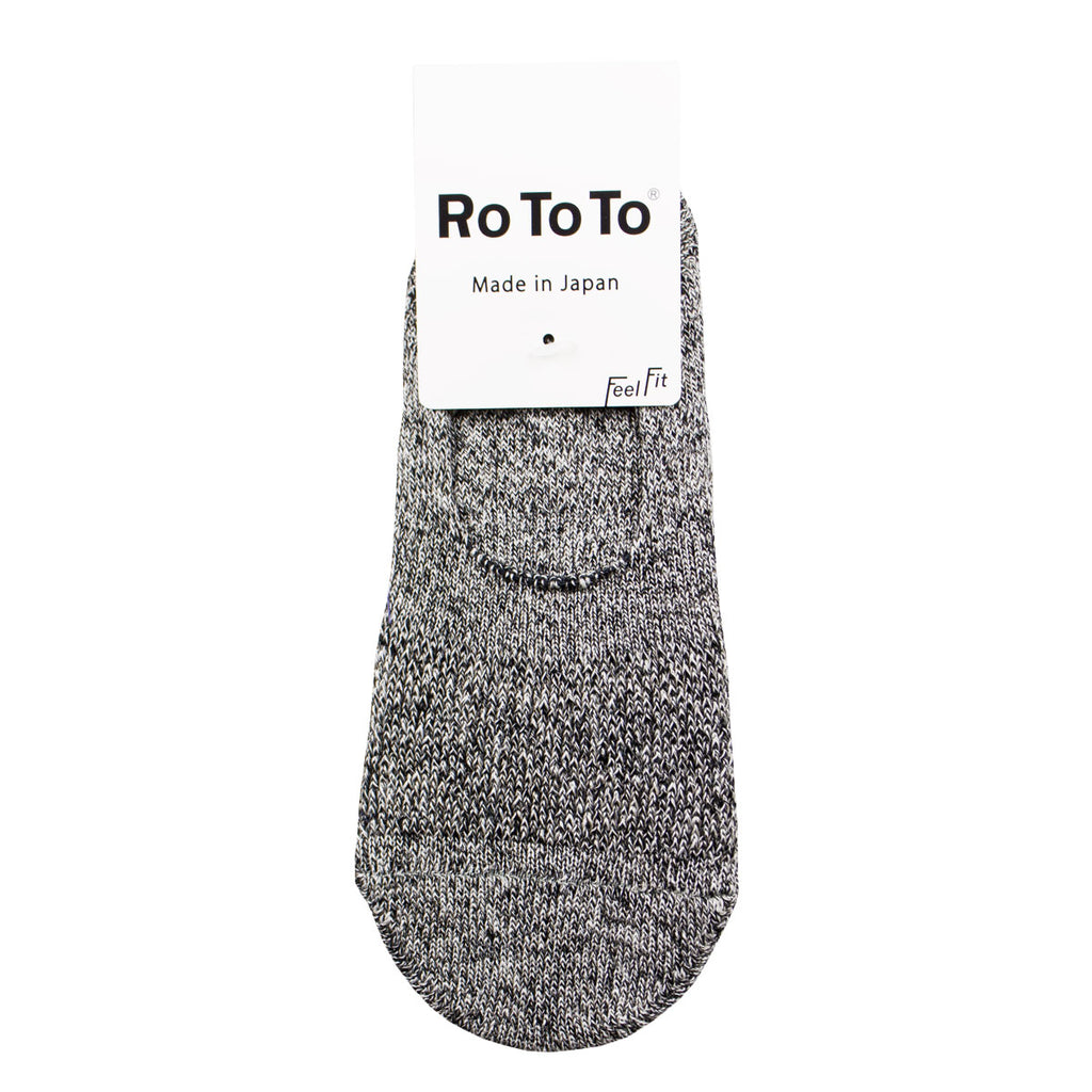RoToTo - Low Gauge Linen Foot Cover Invisible Socks - White / Black