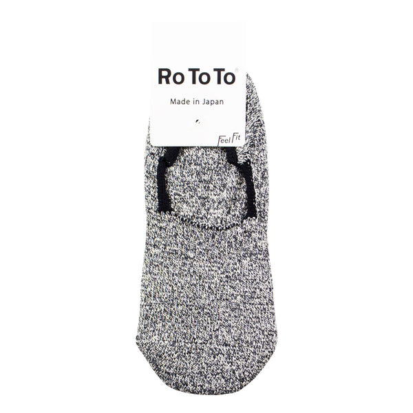 RoToTo - Silk Cotton Foot Cover Invisible Socks - Mix Charcoal