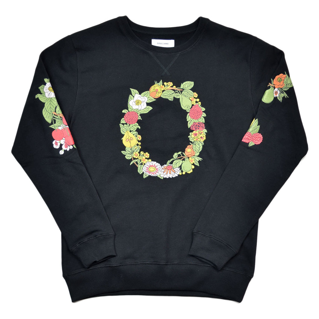 Soulland - Florarina Sweatshirt with Flower Embroidery - Black