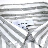 Soulland - Goldsmith Button-down Shirt - White / Green Stripes