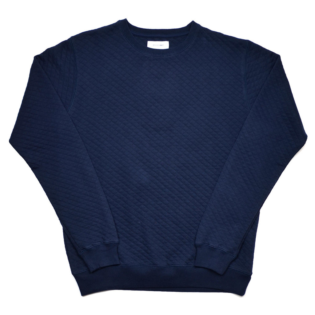 Soulland - Huddleston Sweater in Quilted Fabric - Navy
