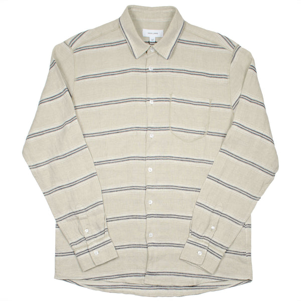 Soulland - Logan Linen Shirt - Beige / Navy Stripes