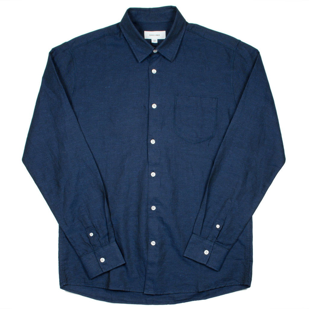 Soulland - Logan Linen Shirt - Navy