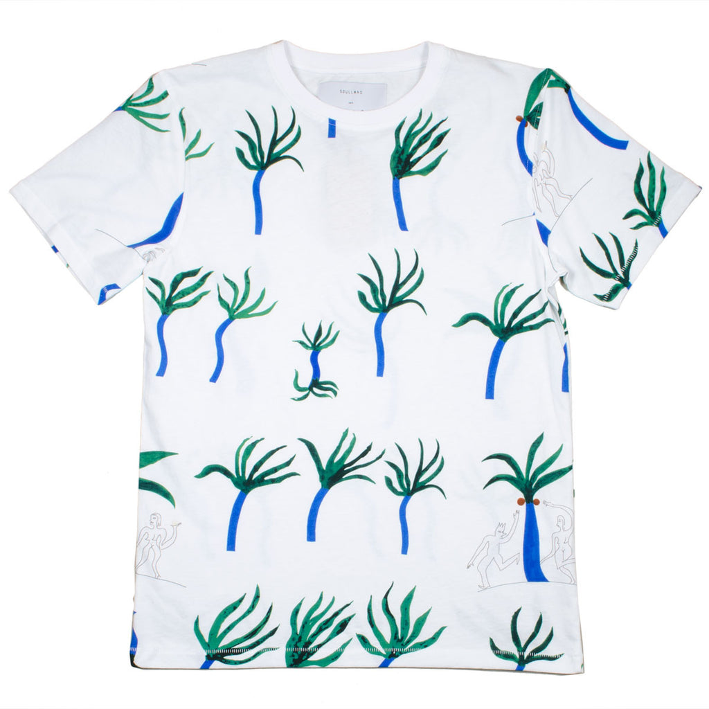 Soulland - Miles T-shirt with Allover Print - White