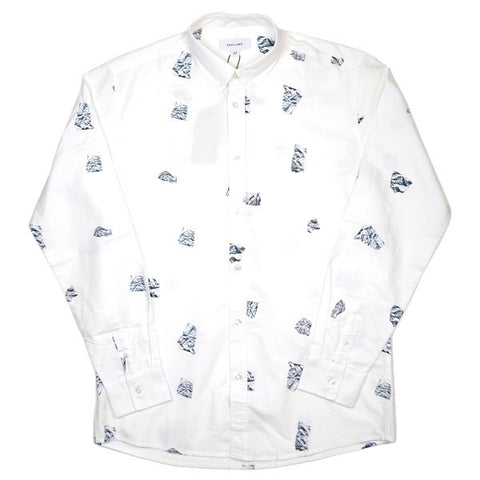 Soulland - Peggs Shirt with Allover Print - White / Silver