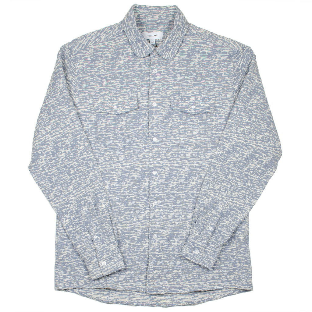 Soulland - Tom Western Shirt with Pockets - White / Light Blue