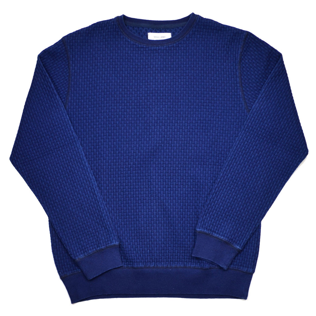 Soulland - Warners Sweater in 3D Effect Braided Fabric - Raw Indigo