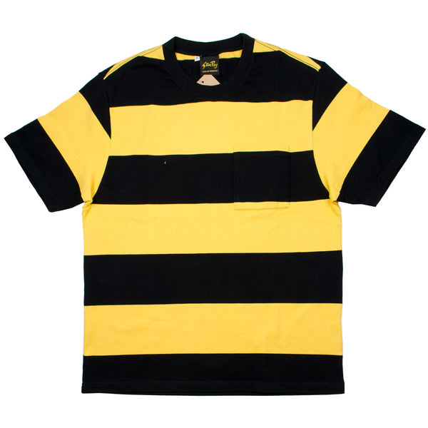 Stan Ray - Football T-shirt - Revival Black / Book Yellow Stripe