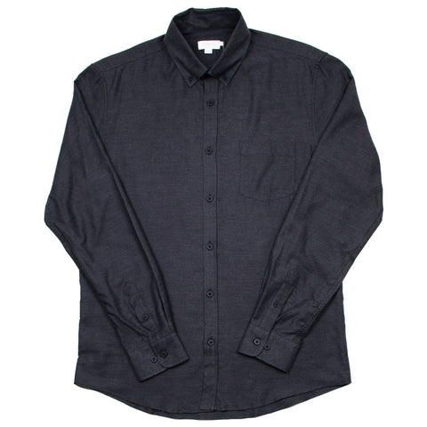 Sunspel - Button-down Flannel Shirt - Charcoal