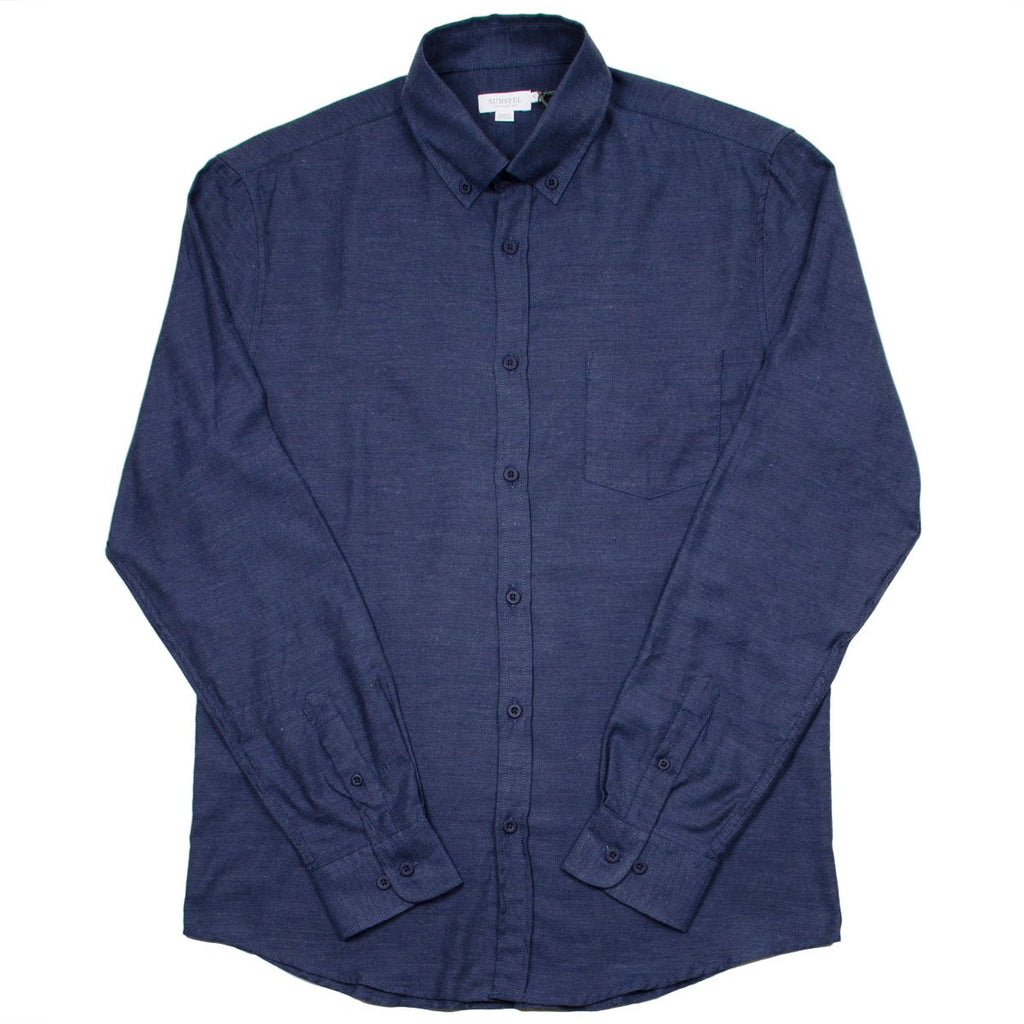 Sunspel - Button-down Flannel Shirt - Navy Melange