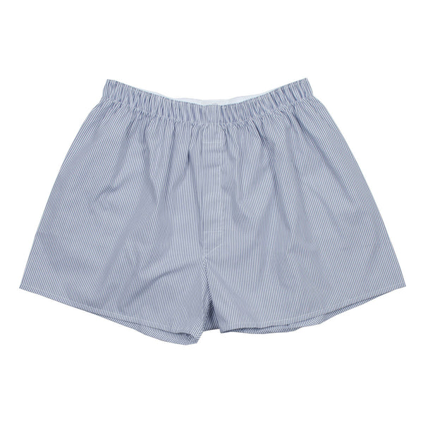Sunspel - Classic Boxer Shorts - Navy / White Stripes