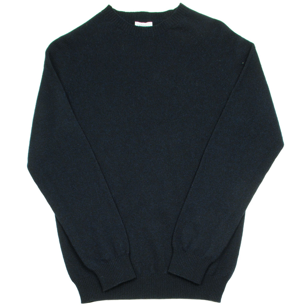 Sunspel - Lambswool Crew Neck Jumper - Dark Navy Mouline