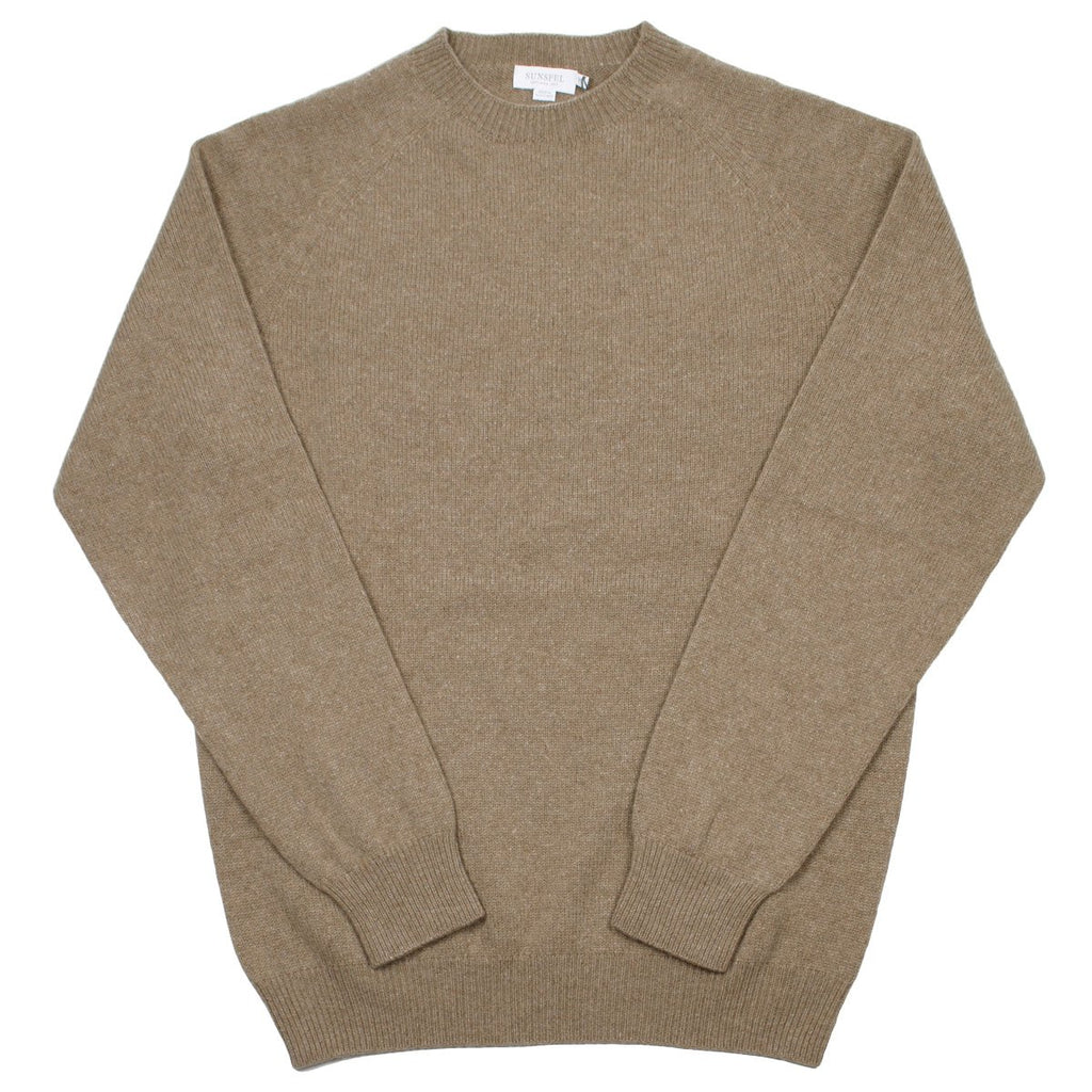 Sunspel - Lambswool Crewn Neck Sweater - Oatmeal Melange