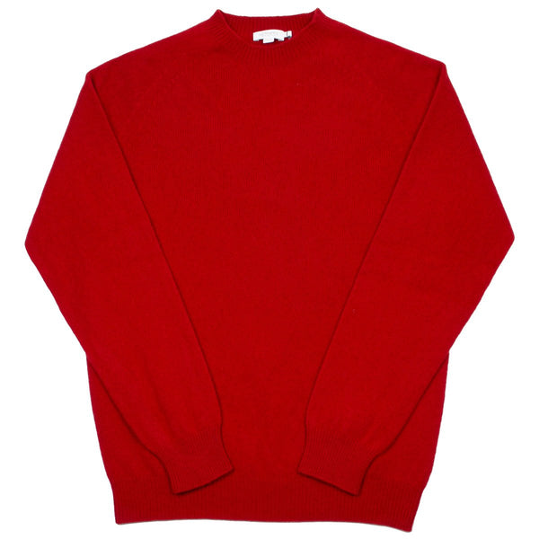 Sunspel - Lambswool Crewn Neck Sweater - Ruby Red