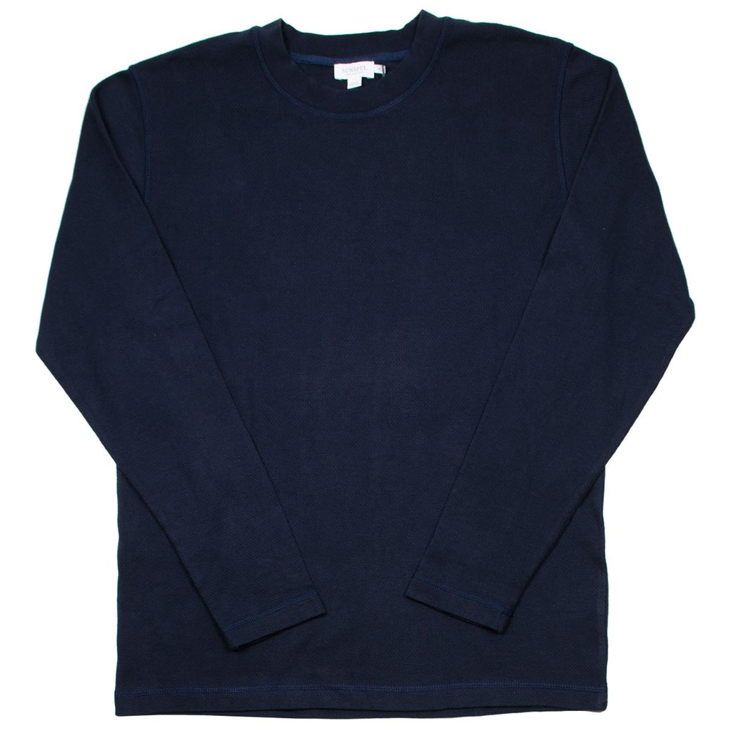 Sunspel - Long Sleeve Cellulock T-shirt - Navy