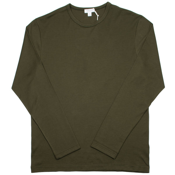 Sunspel - Long Sleeve Crew Neck T-shirt - Military Green