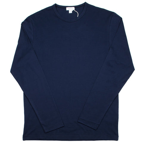 Sunspel - Long Sleeve Crew Neck T-shirt - Navy