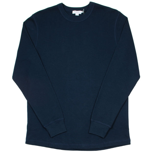 Sunspel - Long Sleeve Crew Neck Waffle T-shirt - Navy