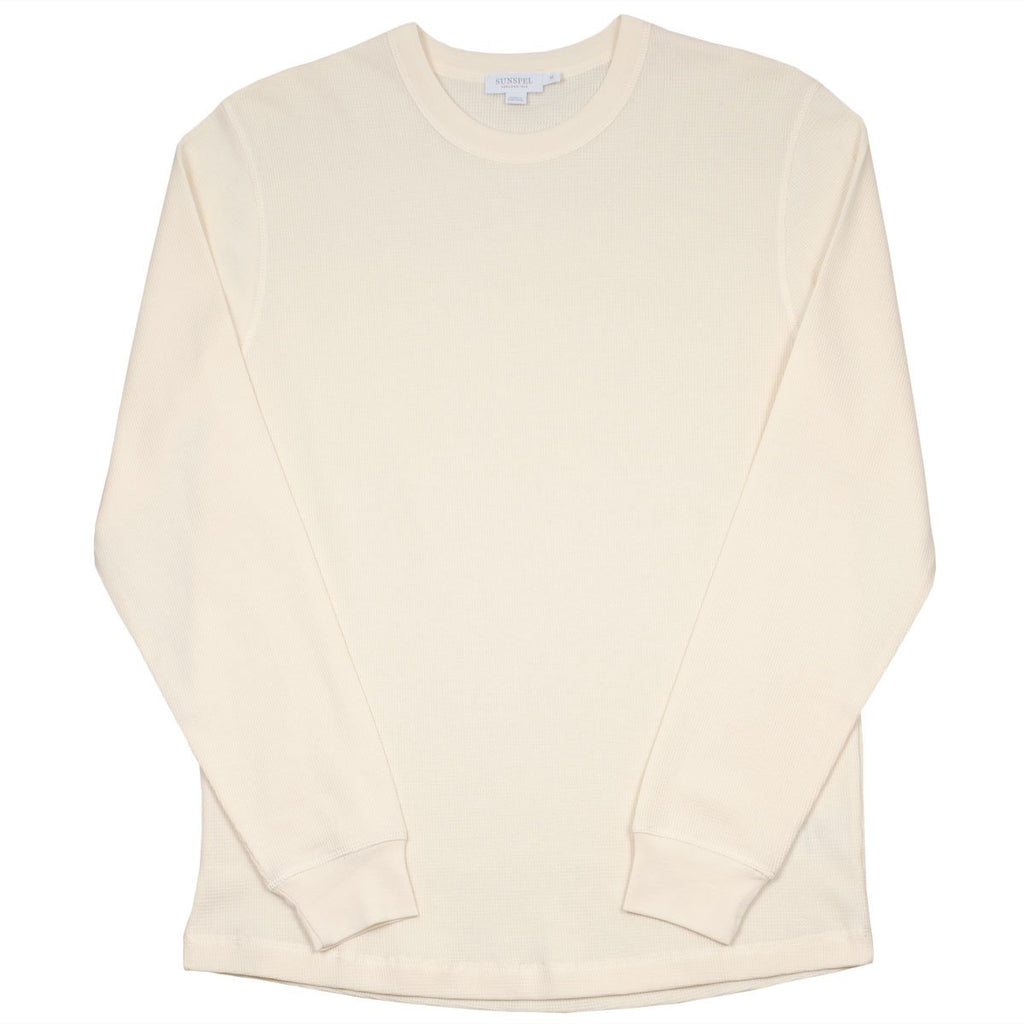 Sunspel - Long Sleeve Crew Neck Waffle T-shirt - Off White
