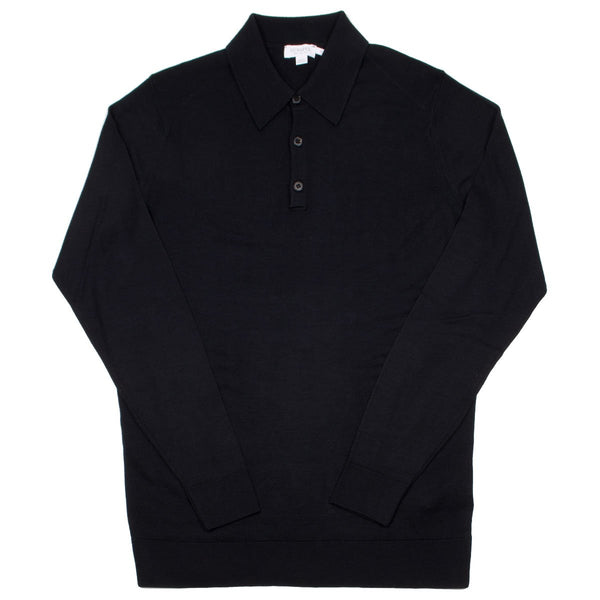 Sunspel - Long Sleeve Merino Polo - Black
