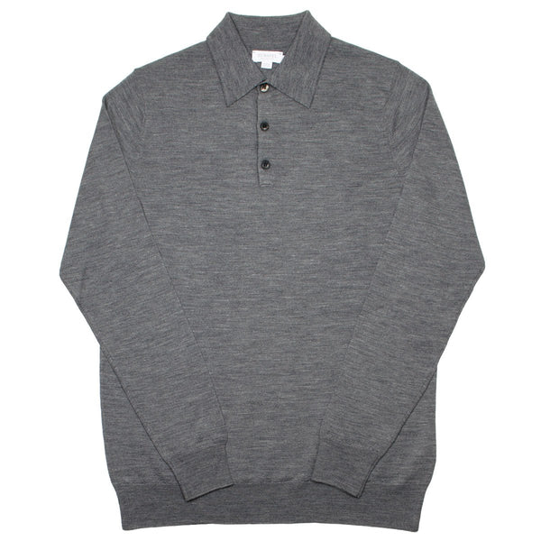 Sunspel - Long Sleeve Merino Polo - Mid Grey Melange