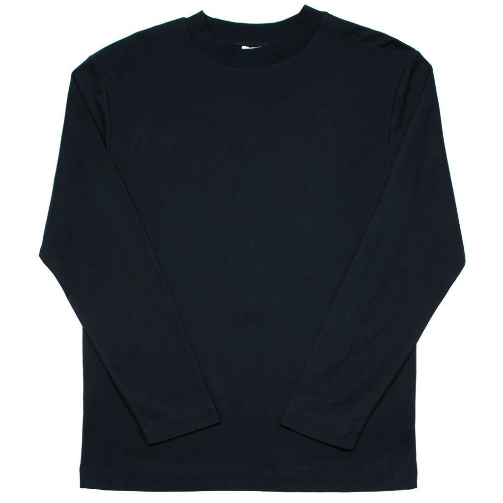 Sunspel - Long Sleeve Mock Neck T-shirt - Black