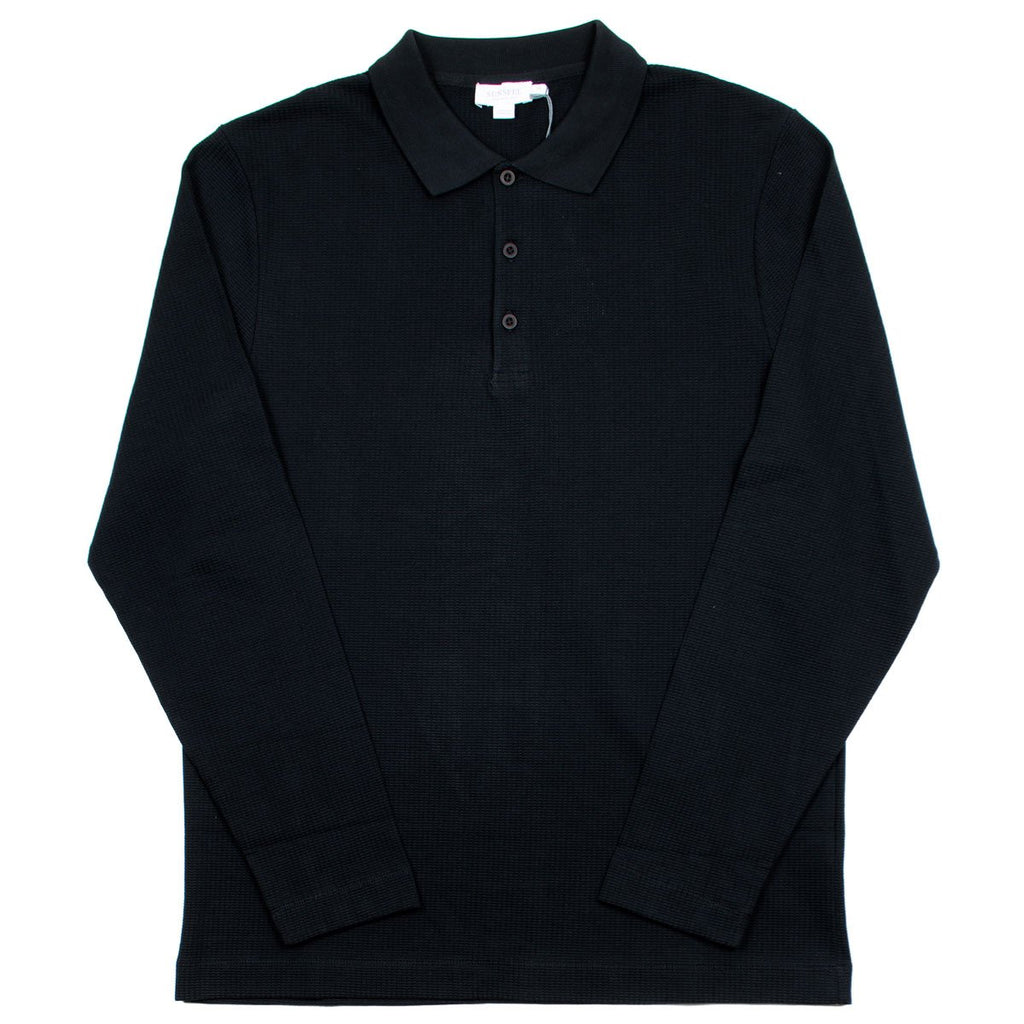 Sunspel - Long Sleeve Textured Polo - Black