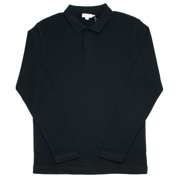 Sunspel - Long Sleeve Waffle Polo - Black