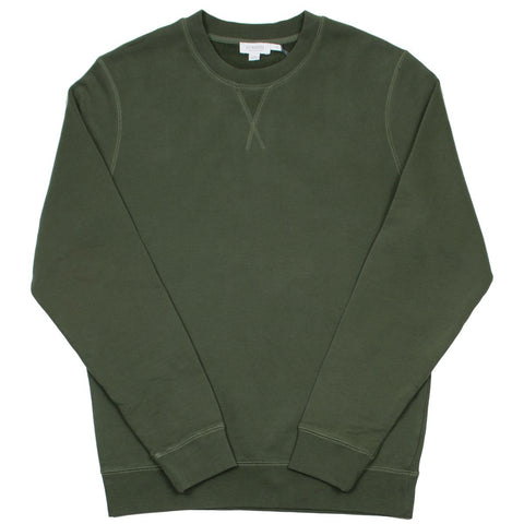 Sunspel - Loopback Sweatshirt - Dark Olive