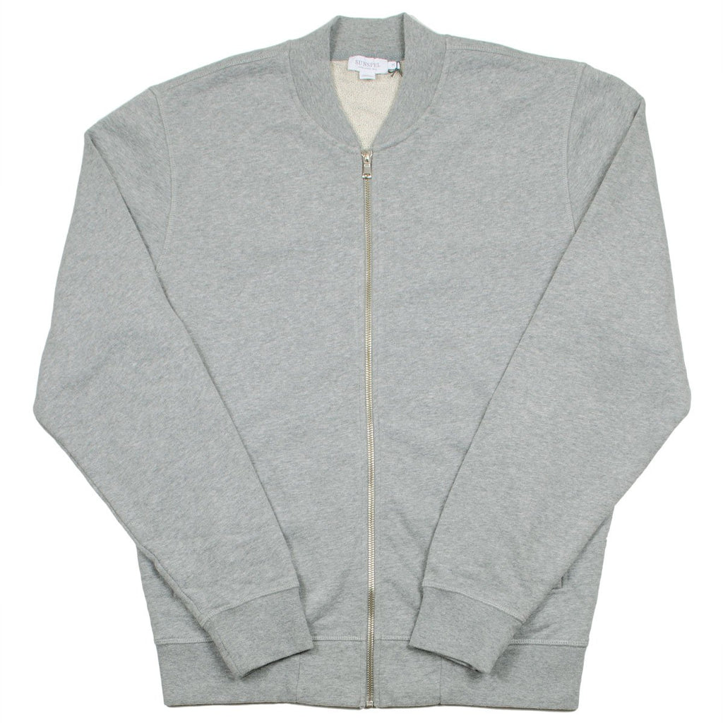 Sunspel - Loopback Zip Bomber - Grey Melange